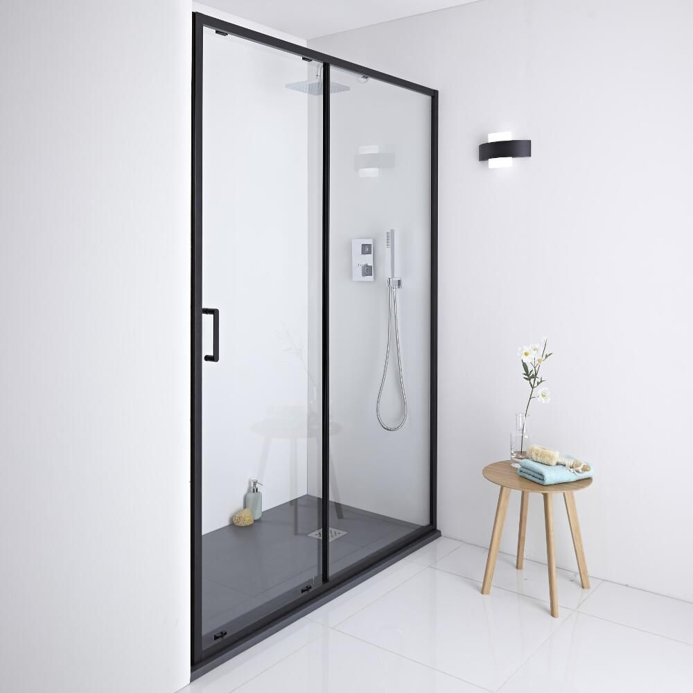 Milano Nero Shower Sliding Door Black 1000mm X 1950mm Black Shower Doors Shower Doors Sliding Shower Door