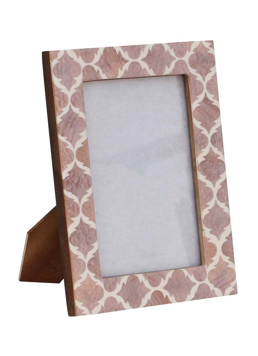 bulk wholesale handmade wooden photo frame picture stand in pale pink with moroccan pattern