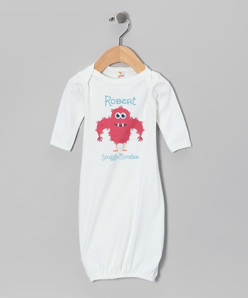 Loving this Initial Request White Hairy 'Snuggle Monster' Personalized Gown on #zulily! #zulilyfinds