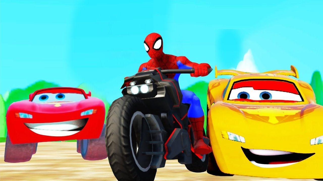 Человек паук на Мотоцикле Мультик про Машинки Маккуин ...