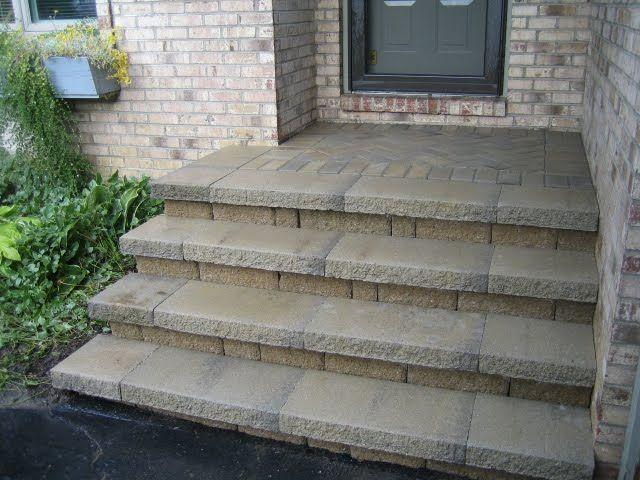 Concrete And Brick Front Porch Steps Patio Repair Paver Steps