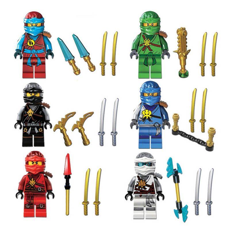 10sets new Ninjago Jay Cole Ninja with Weapons Mini figures Building Blocks