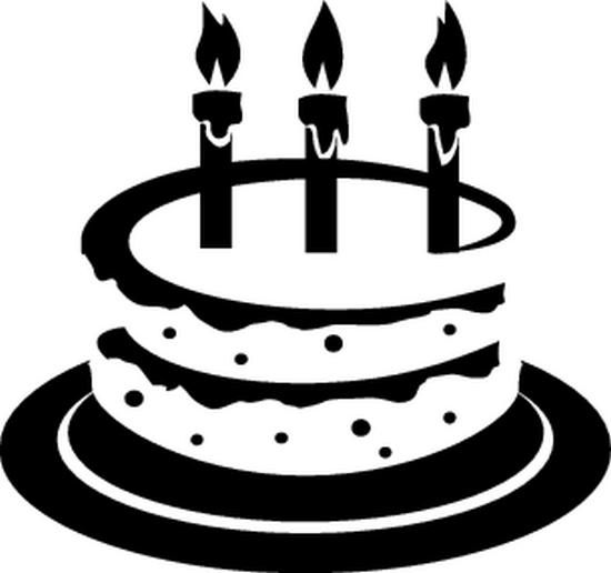 birthday cake clip art black and white | Het copyright van ...