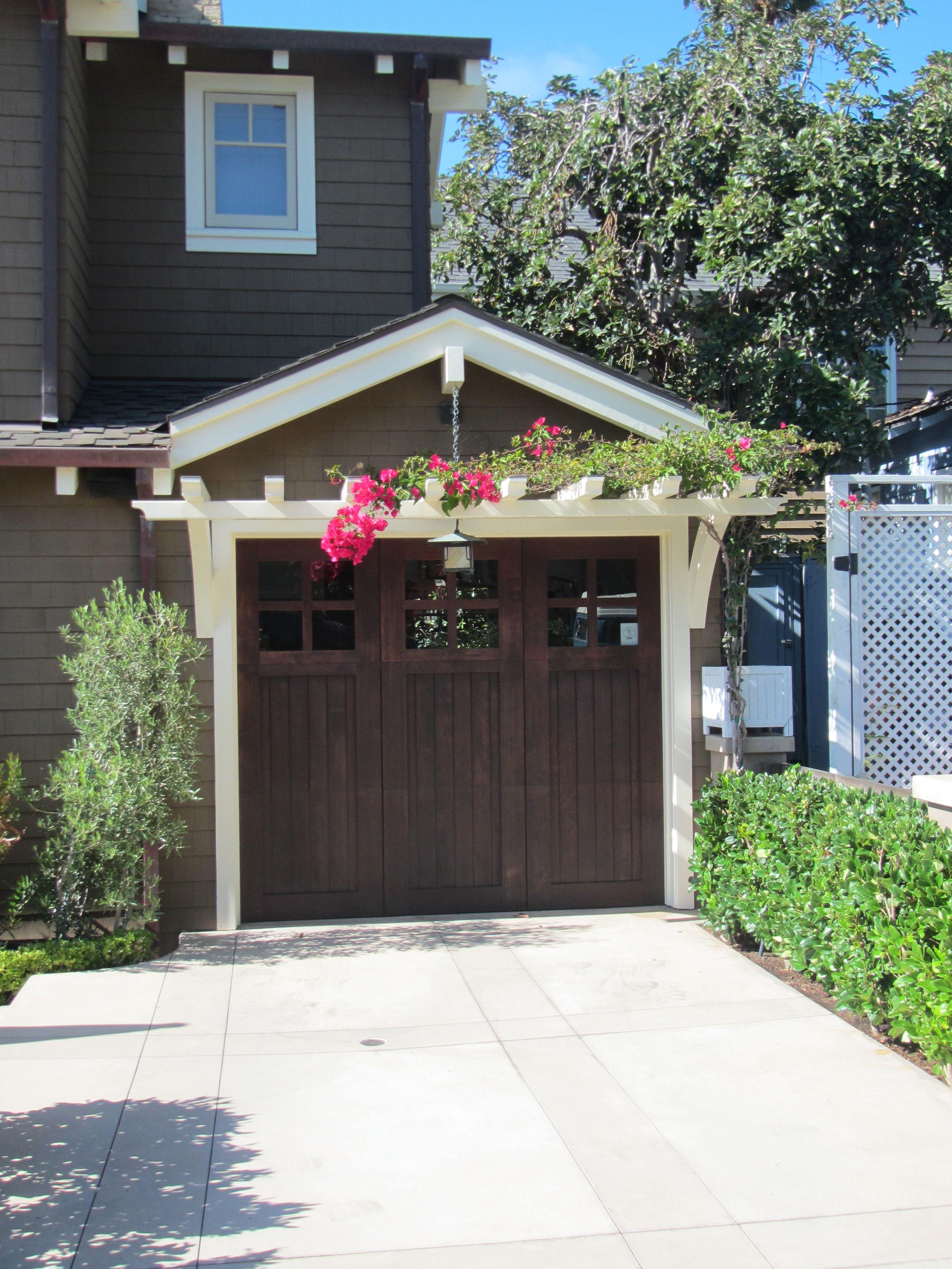 Trellis over garage door - Garage Pergola Craftsman Garage Door