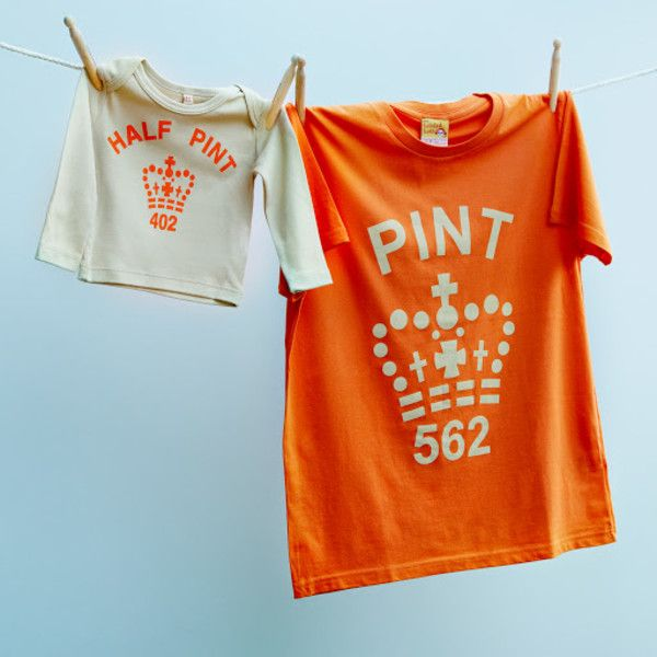 5a2db7ab Matching pint and half pint t-shirt set for dad and child (orange & stone)