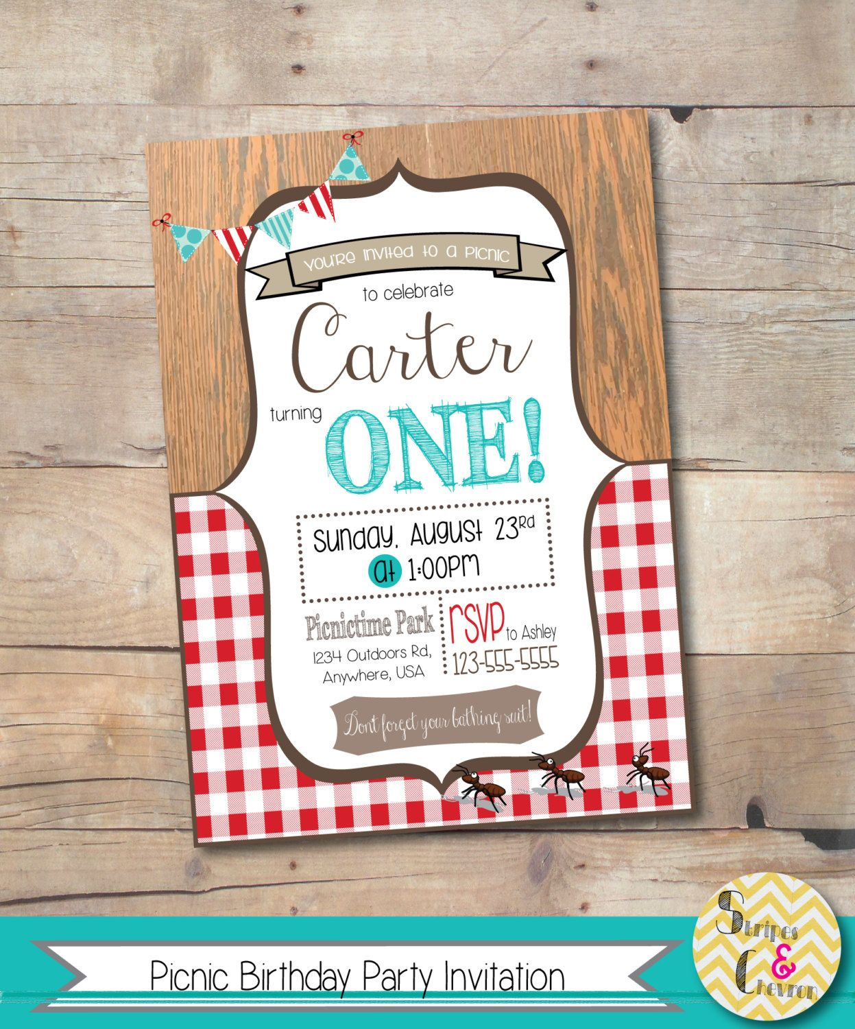 Picnic Party Invitation Picnic Birthday Party Summer | Cards ...
