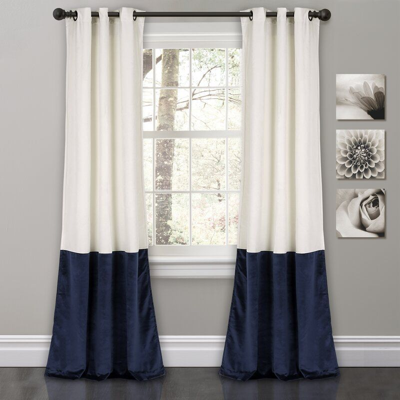 Alcott Hill Lucille Floral Solid Color Room Darkening Thermal Grommet Curtain Panels Reviews W Color Block Curtains Grommet Curtains Window Curtains White
