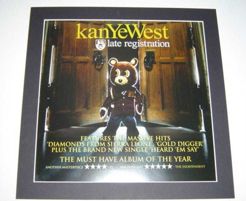 Kayne West Late Registration Poster In A Custom Made Mount Etsy Late Registration Kayne West Picture Mounting