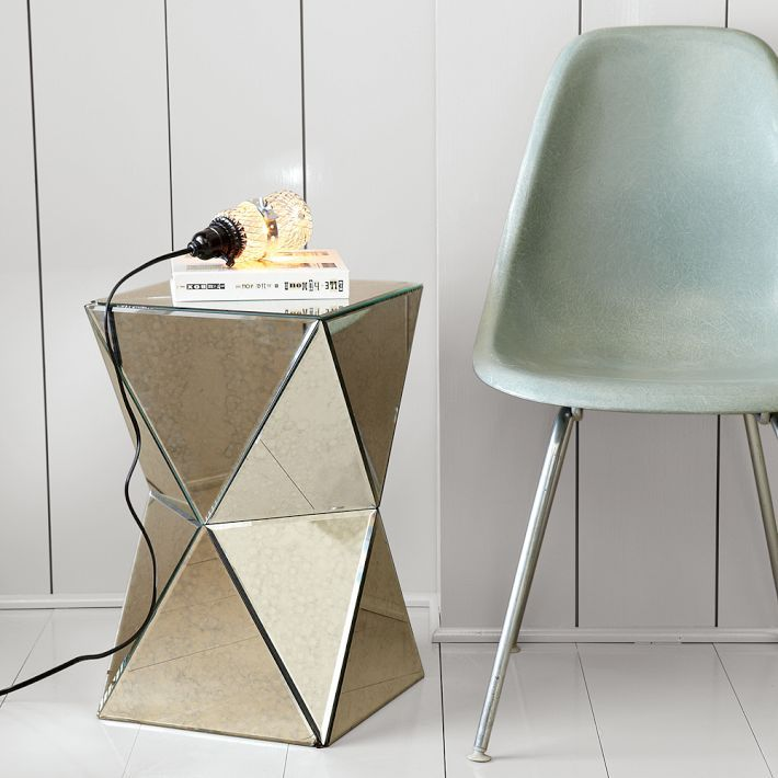 Faceted Mirror Side Table West Elm