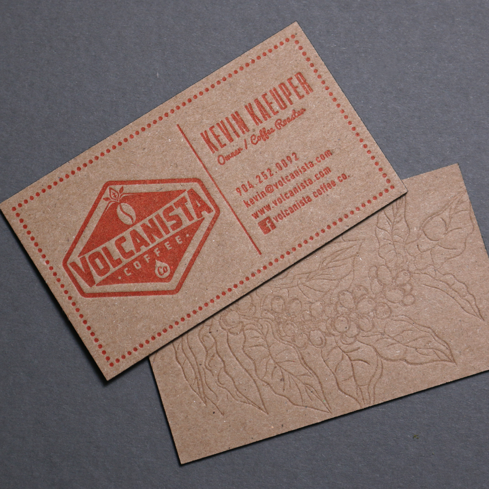 Fresh Brewed business cards printed for Volcanista Coffee ...