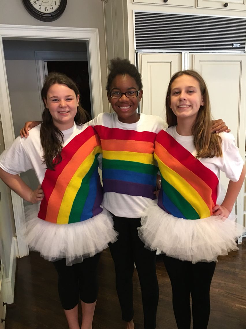 Cute and creative halloween Rainbow costume for a group of