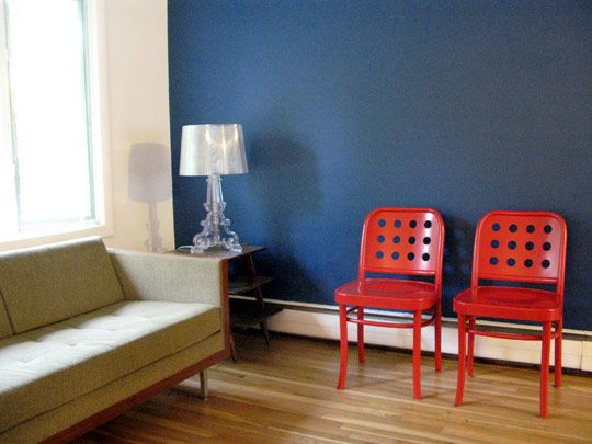 Love The Red Chairs Against The Navy Wall. Living Room Decor, Color Palette.