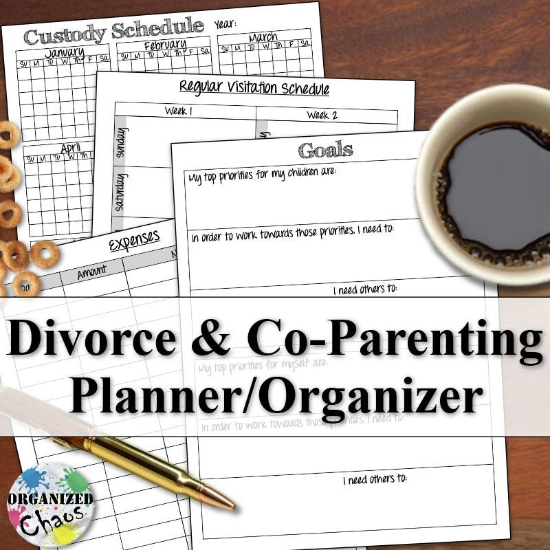 Mommy Monday printable co-parenting / divorce planner Parenting