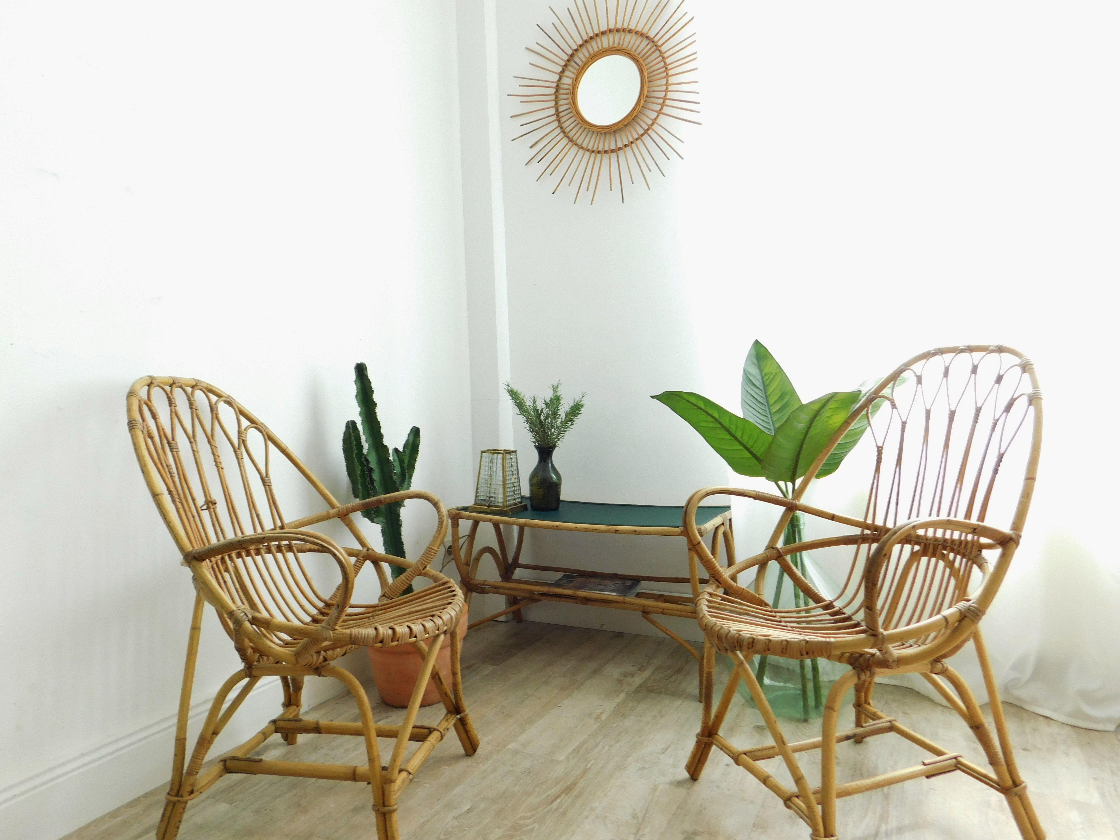 2 fauteuils en rotin vintage ovo des ambiance nature vert profond jungle inspirations d co. Black Bedroom Furniture Sets. Home Design Ideas