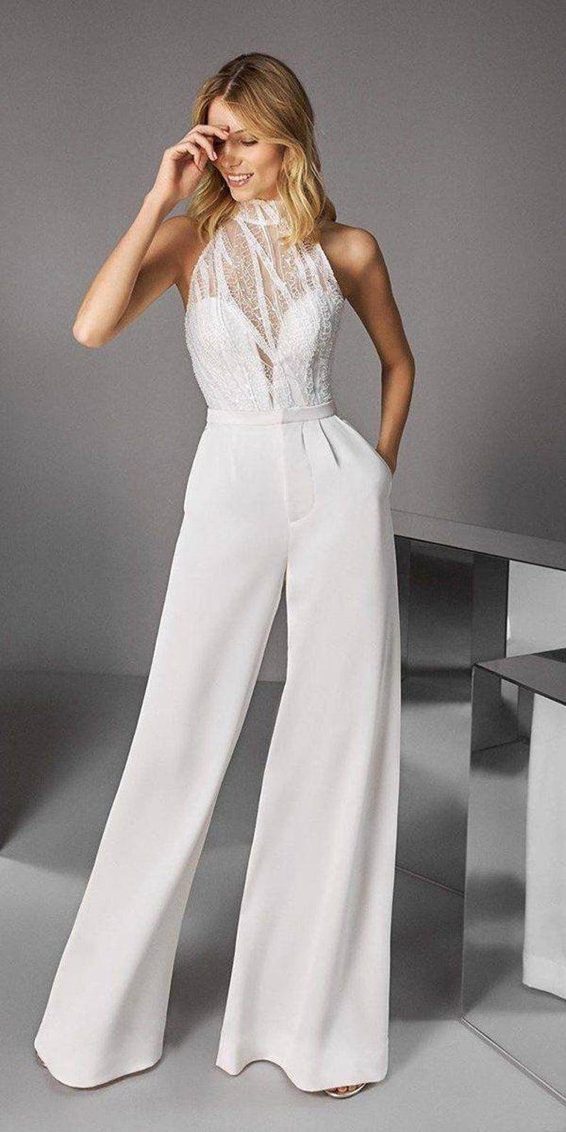 White Jumpsuit Etsy In 2020 Wedding Dress Couture Wedding Dresses Unique White Jumpsuit Wedding