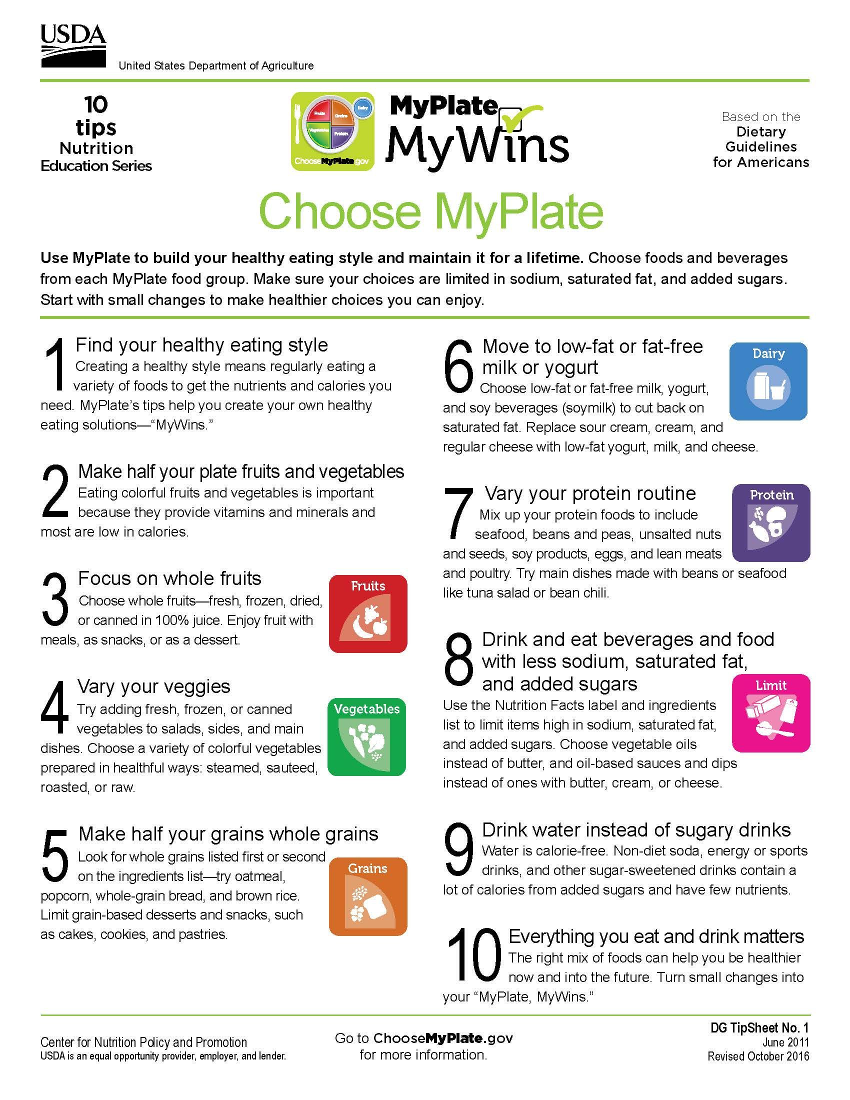 10 Tips Choose Myplate Nutritioneducation Printables