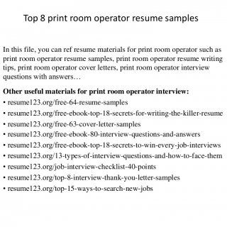 Top  Print Room Operator Resume Samples In This File You Can Ref