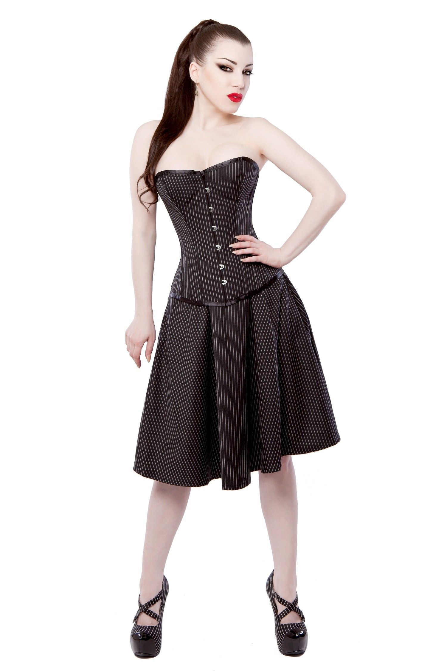 022a7a538de Pinstripe Corset Dress   Shoes