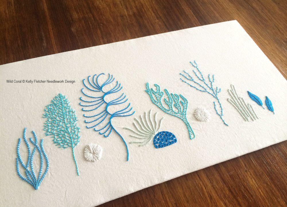 Patron para bordar a mano moderno Coral por KFNeedleworkDesign ...