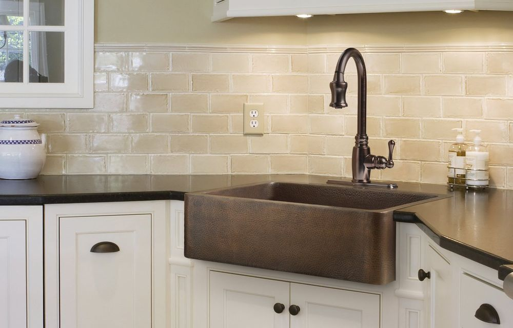 kitchen sinks farmhouse apron front handmade copper 33 inch single rh pinterest ca