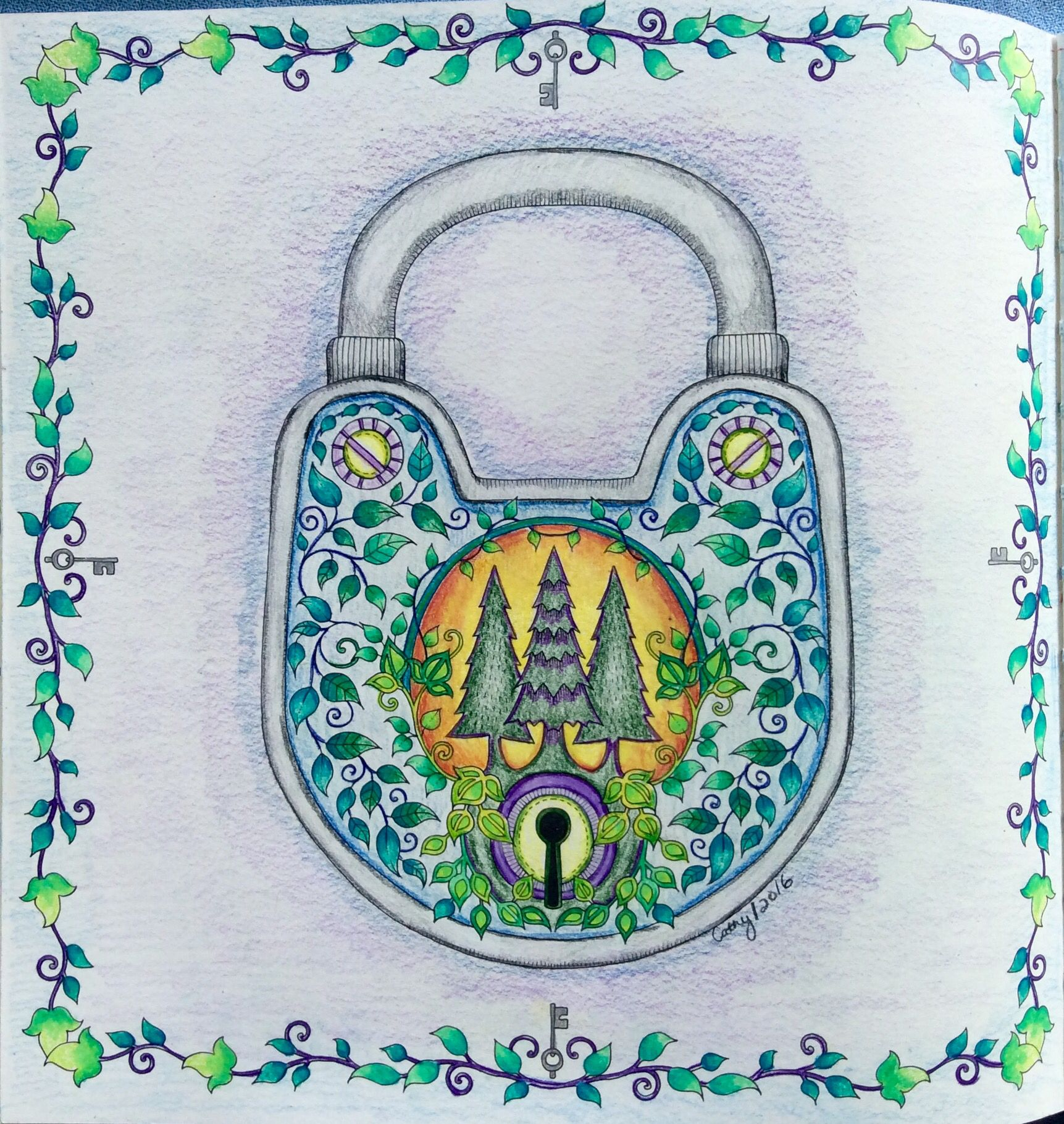 Pad Lock Enchanted Forest Johanna Basford Cathyc