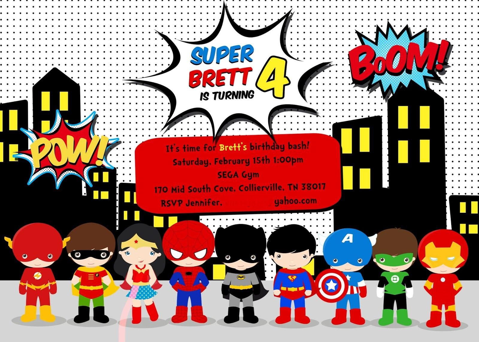 Free Superhero Birthday Invitations Templates – Superhero Birthday Invitations Free Printable
