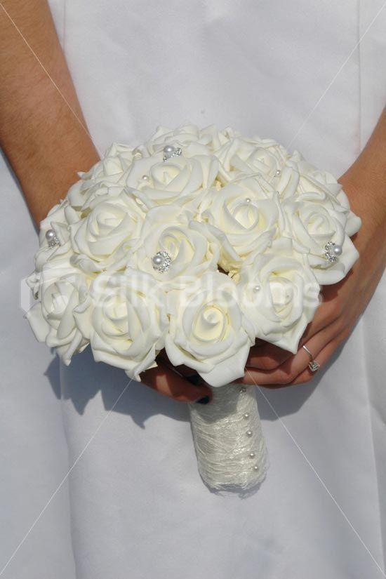 Vintage Ivory Rose Crystal Pearl Brooch Wedding Bridal Bouquet