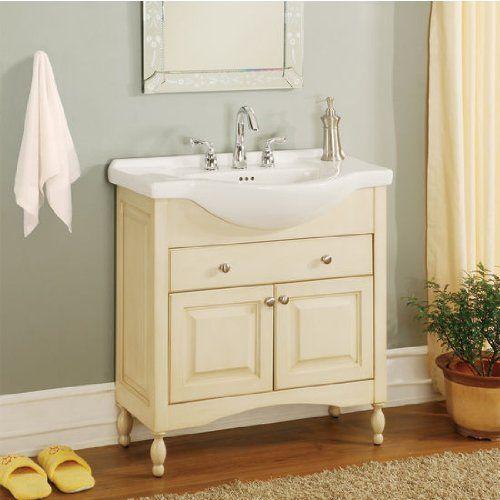 Windsor 34 Narrow Depth Bathroom Vanity Base Finish Antique White 15 Inches Deep