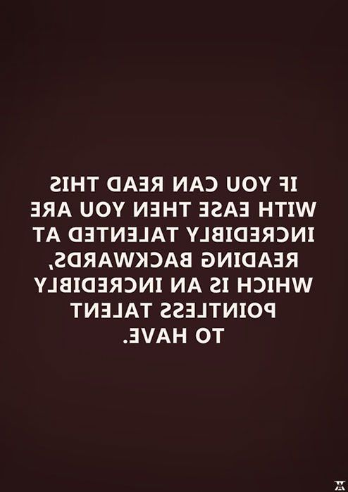 If you can read this.