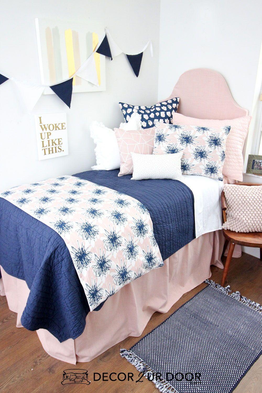 Best Blush Linen Navy Floral Dorm Bedding Set Dorm Bedding 640 x 480