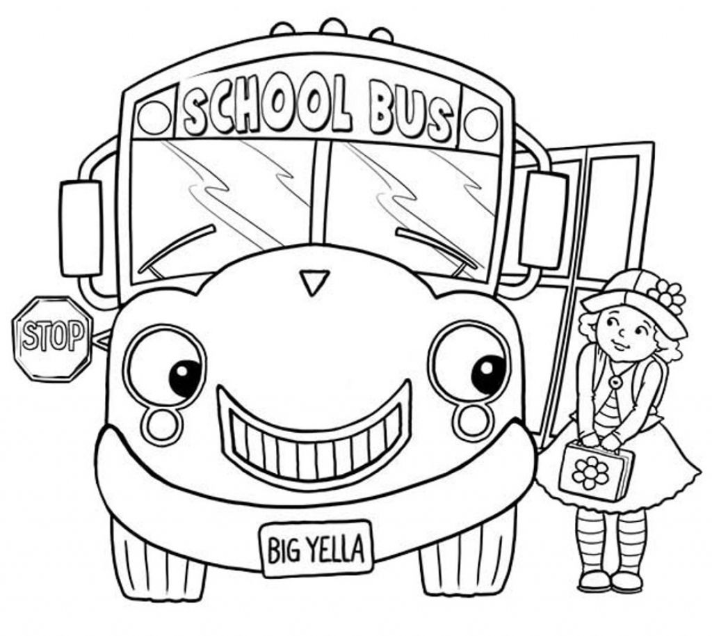Little Girl And School Bus Coloring Page