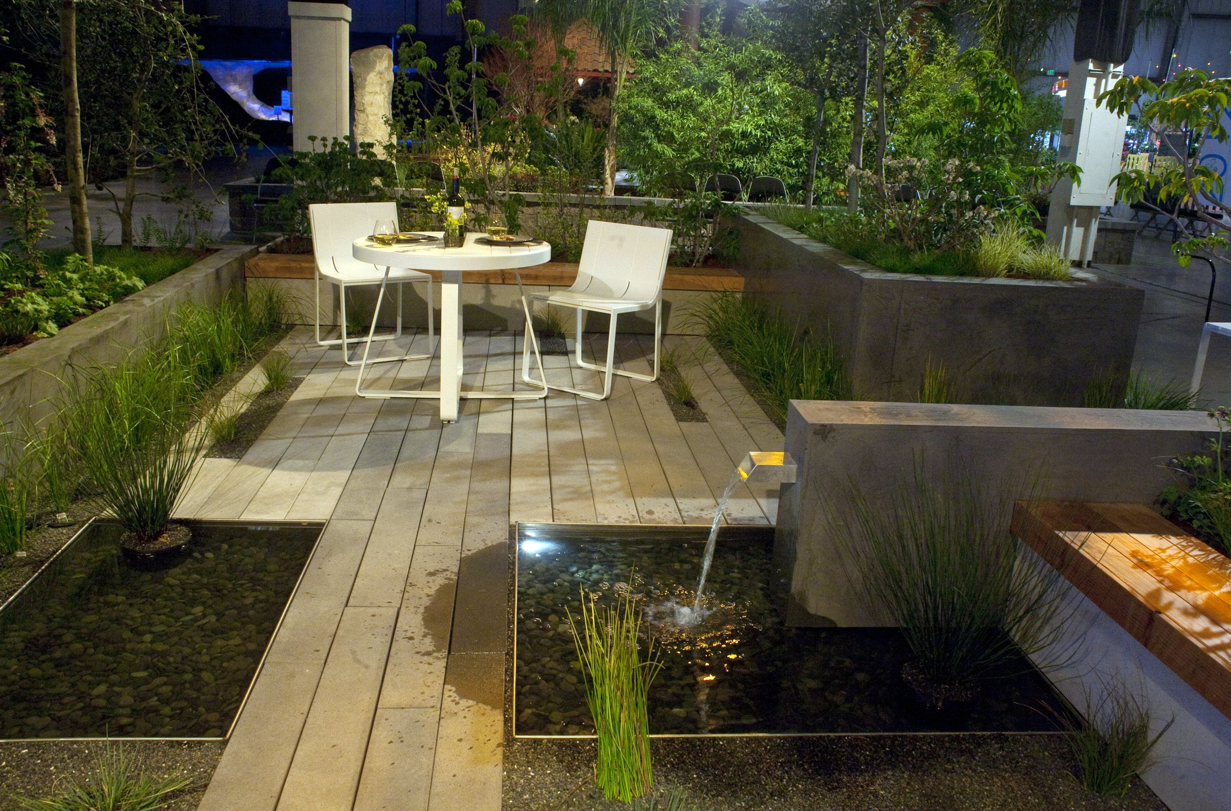 Serenity lounge envision landscape studio gold award a for Garden decking features