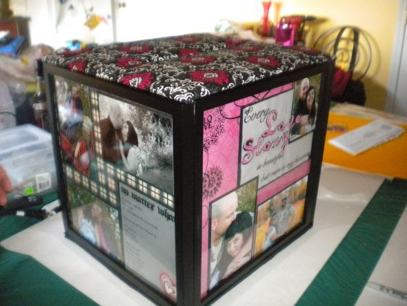 Zombie Wedding Gifts: Our Scrapbooked Card Box : Wedding Black Pink Diy