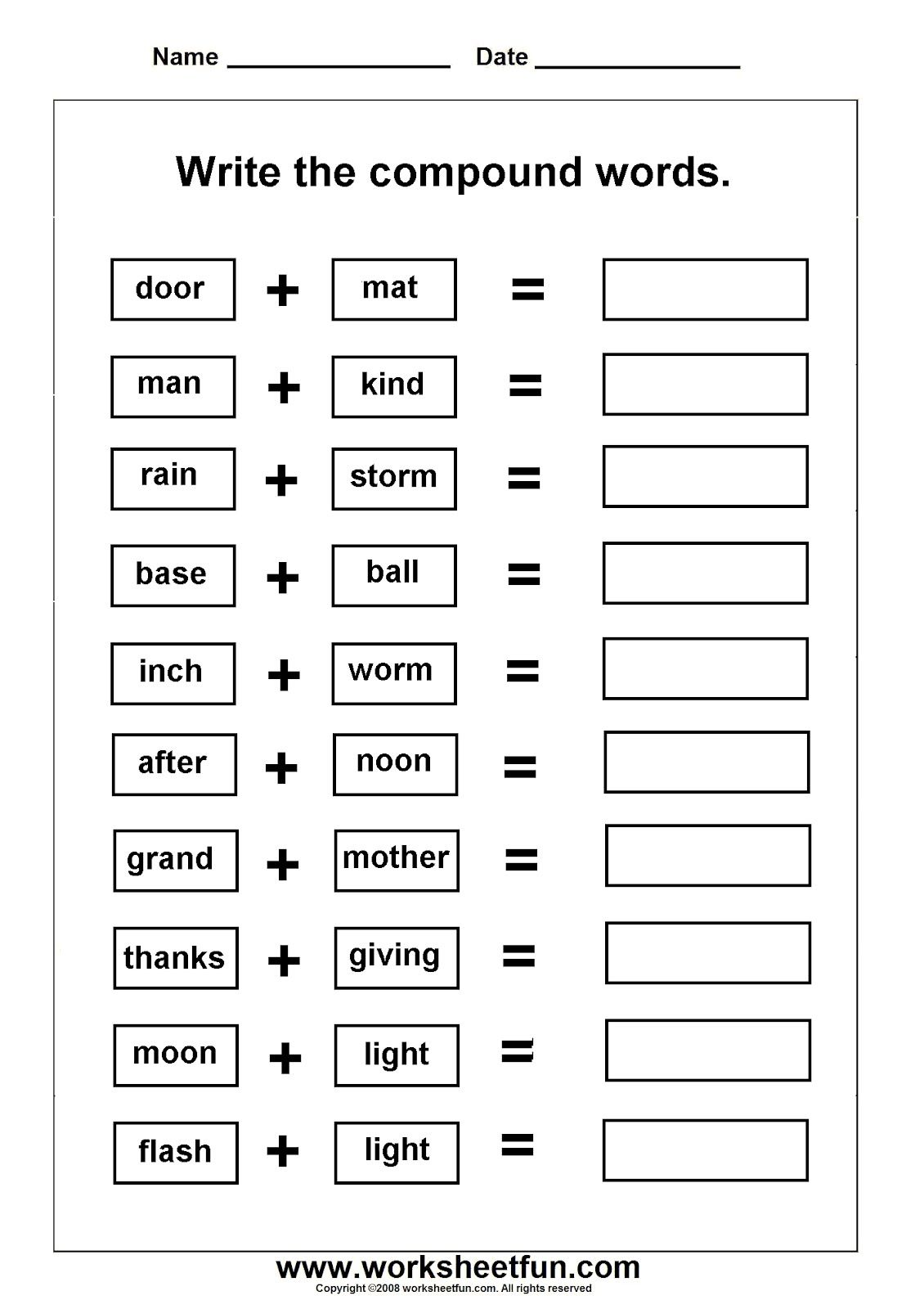 Worksheet Compound Words For Preschool worksheets on compound words with pictures ela activities words