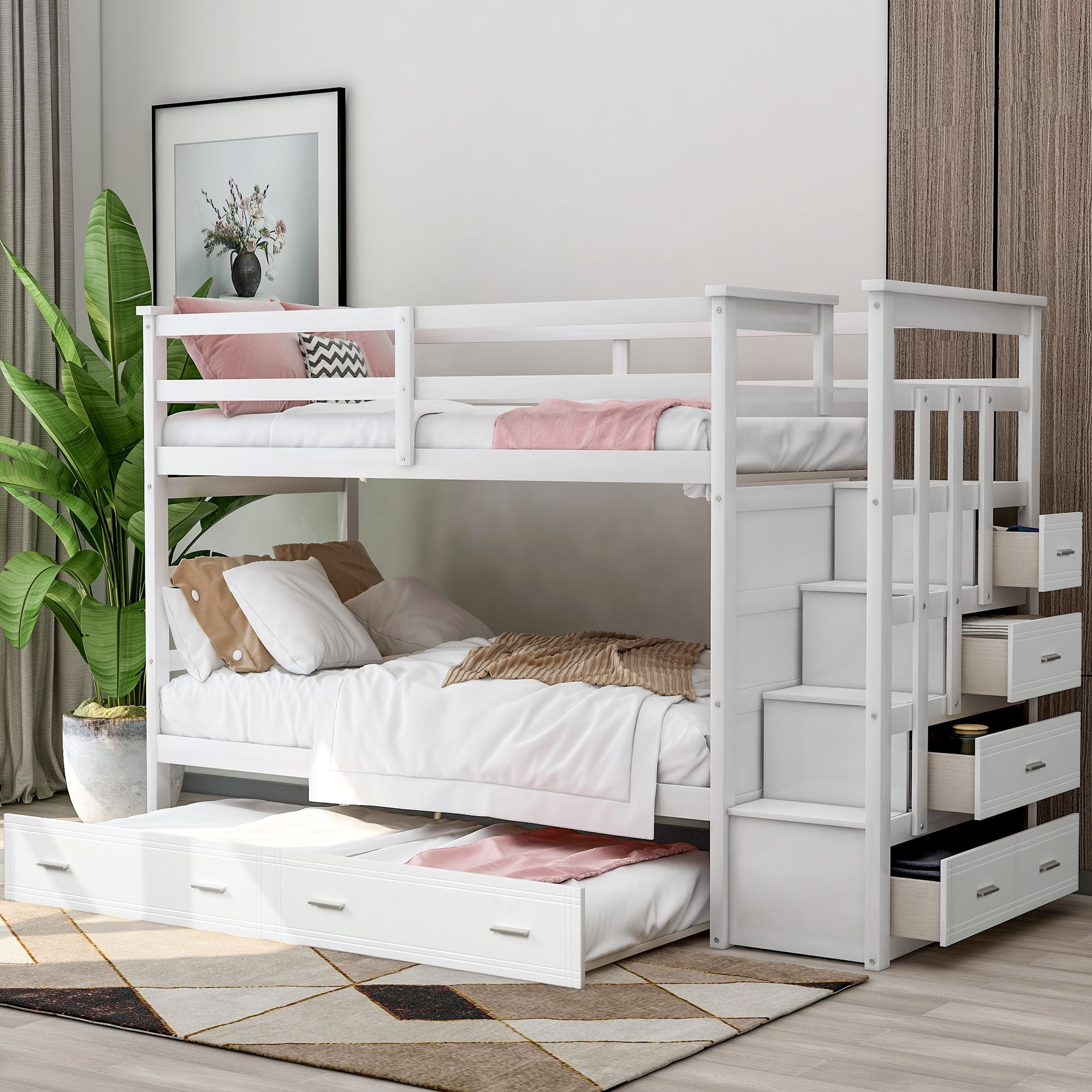 Euroco Twin Over Twin Bunk Bed With Trundle Storage Drawers White Walmart Com Twin Bunk Beds Bunk Bed With Trundle Bunk Beds Twin bunk beds with drawers