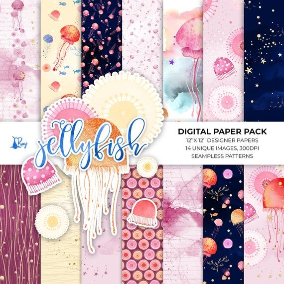 Photo of Jellyfish Watercolor, Digital Paper, Jellyfish Graphics, Seamless patterns, Under the Sea Background