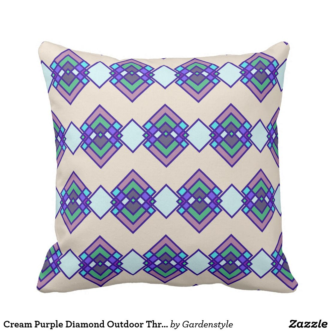 Cream Purple Diamond Outdoor Throw Pillow 16x16 Zazzle Com With