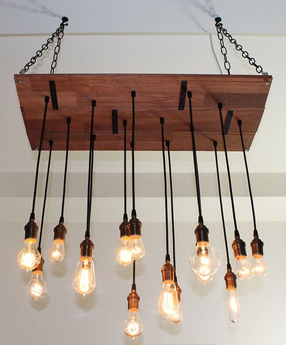 Rustic Reclaimed Wood Edison Bulb Industrial Chandelier Lights: Nostalgic Reclaimed Wood Chandelier Dining Room Chandelier