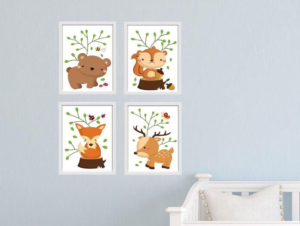 Details zu Bild Set Wald Tiere Kunstdruck A4 Bär Fuchs Hörnchen Reh ...
