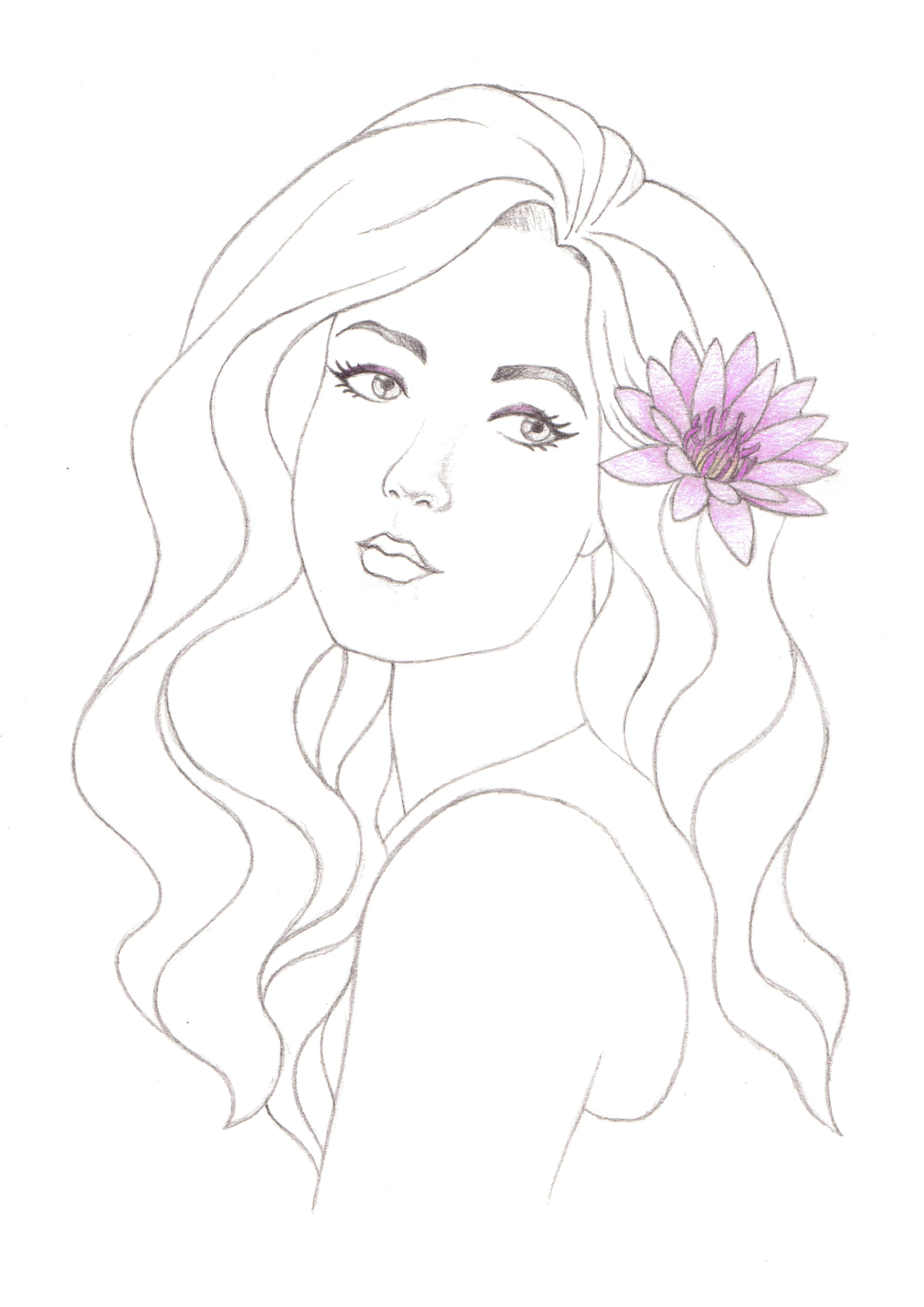 Water Lily Drawing Girl Women Traditional Art Beautiful Pretty Curly Hair Line Art
