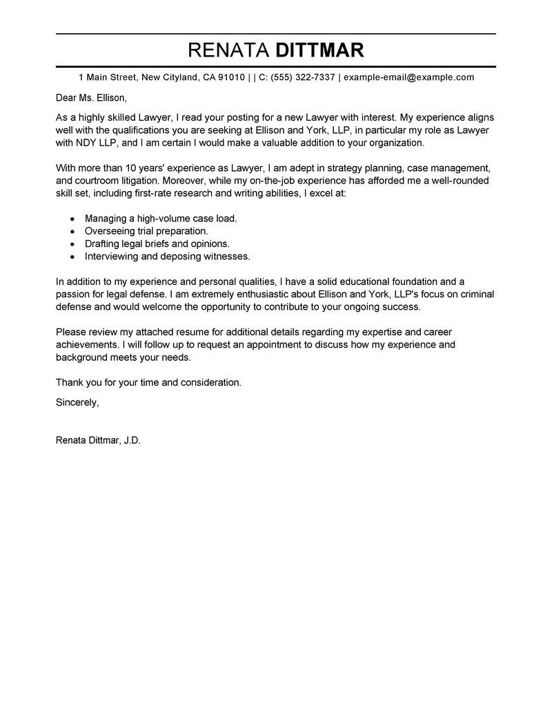 Best Law Cover Letter Examples Livecareer How To Write A ...