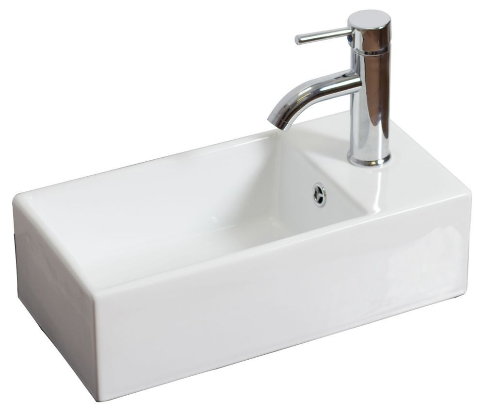 Small Rectangle White Bar Sink With Single Hole And An Overflow