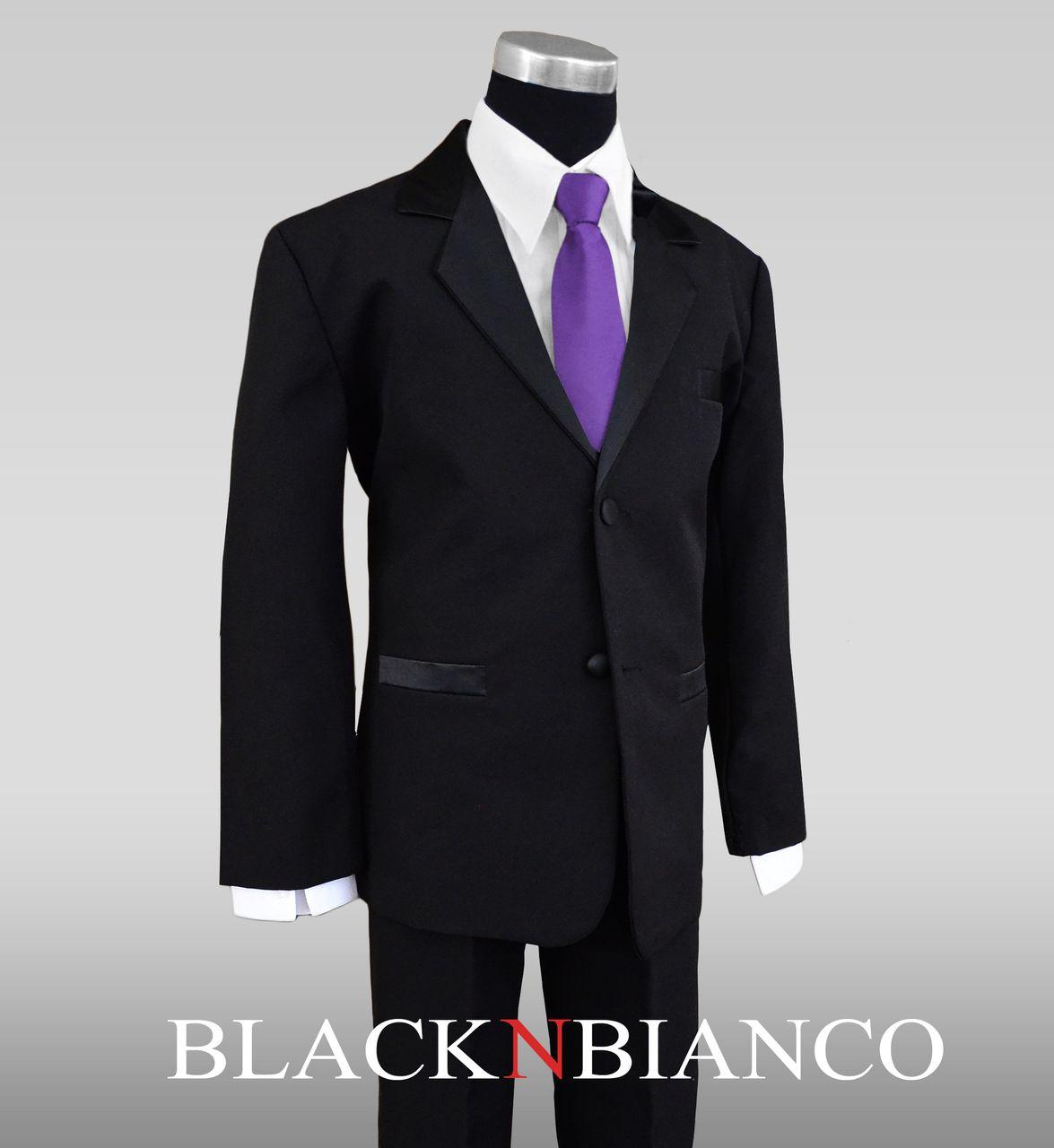 Youth Boys Tuxedo Dresswear Suit with a Sold Light Purple Neck Tie ...