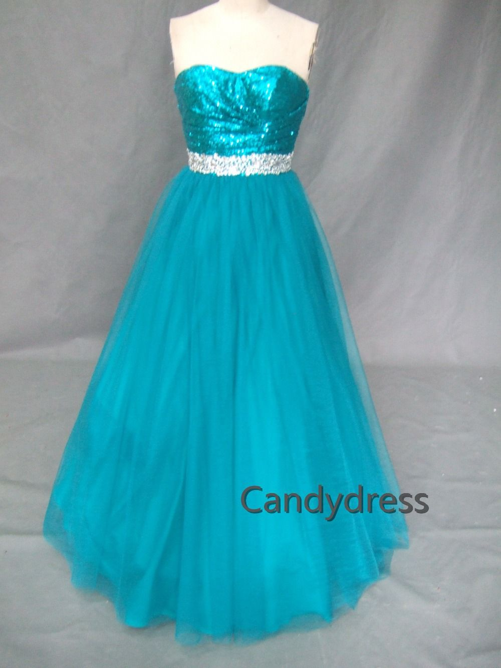 Teal blue sequins, ball gown, prom dress, party dress custom color ...