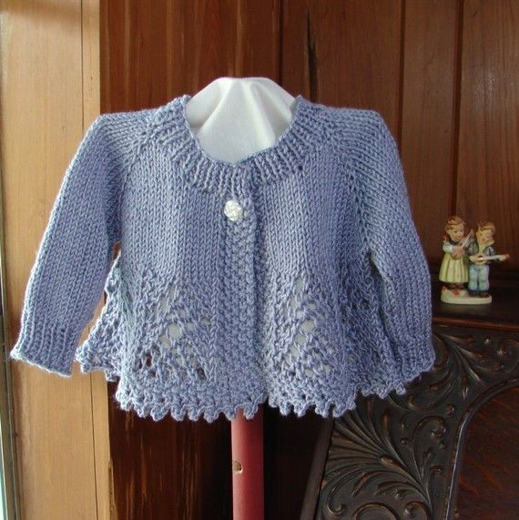 Pattern Hand Knit Lace Baby Girl Sweater Top Down Lace