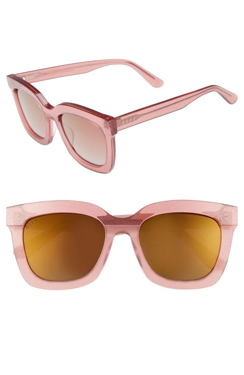322232b920b Carson 53mm Polarized Square Sunglasses, Main, color, Quartz Glitter/ Rose  Color Quartz