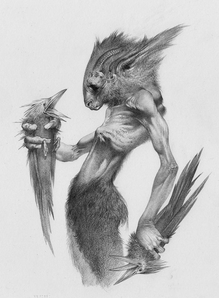 рисунки карандашом фантастика животные ленты