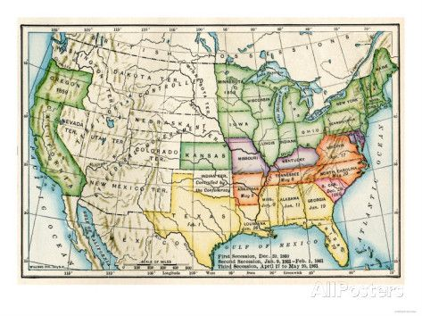 U.S. Map Showing Seceeding States by Date, American Civil ...