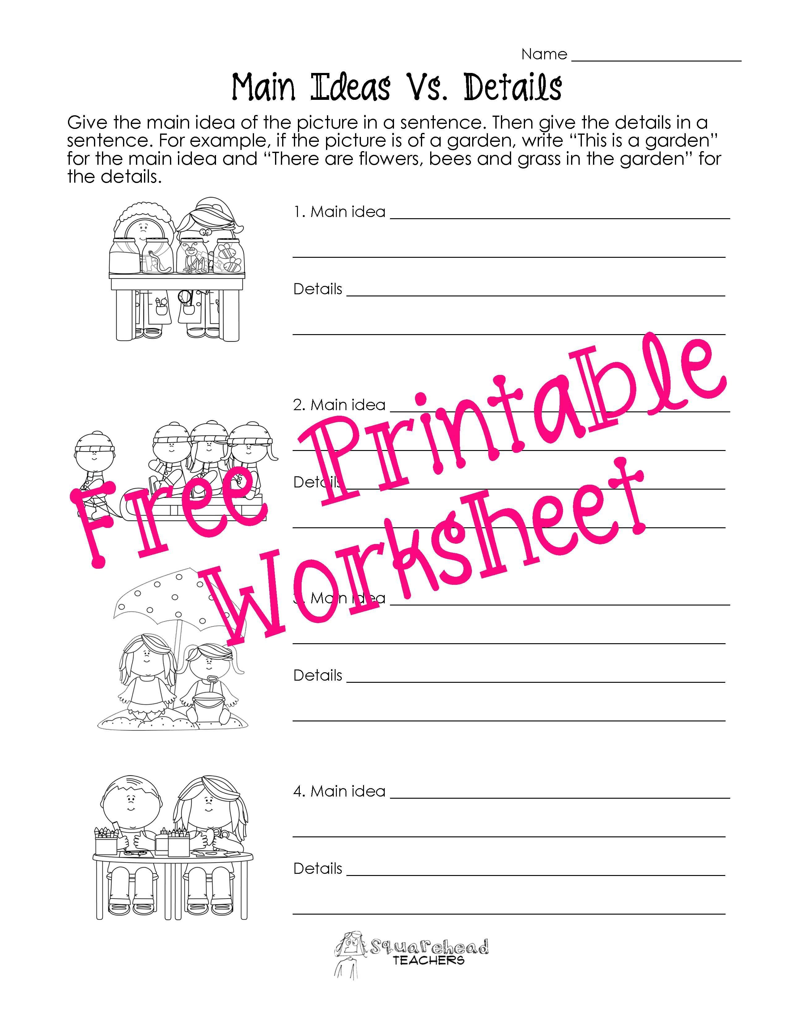 Main Idea Vs Details Worksheets Kindergarten Worksheets Printable Main Idea Worksheet Kindergarten Worksheets