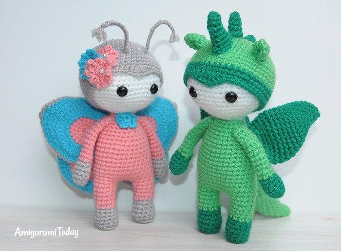 Amigurumi Leren Haken : Amigurumi doll in butterfly costume gratis patroon amigurumi en